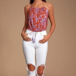 NEW Free People Multi Floral Print Halter Bodysuit